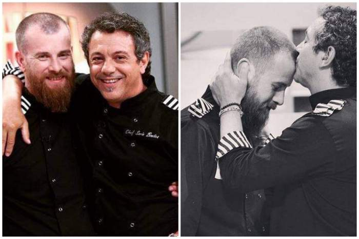 Un colaj cu Foca sau Silviu Costan și Sorin Bontea. Cei doi se află la Chefi la cuțite. Chef-ul îi sărută fruntea concurentului.