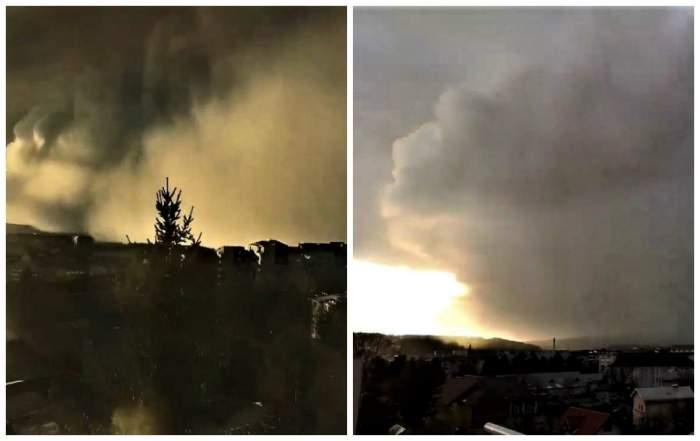 Imagini apocaliptice în Suceava, după ce România a fost lovită de furtuna Ciara. Un nor uriaș a acoperit orașul / VIDEO