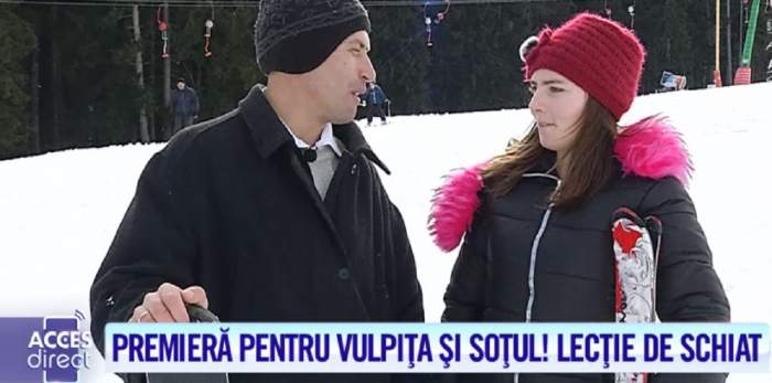 Vulpiţa şi Viorel, pentru prima dată la munte! Soţii Stegaru au făcut spectacol pe pârtie / VIDEO
