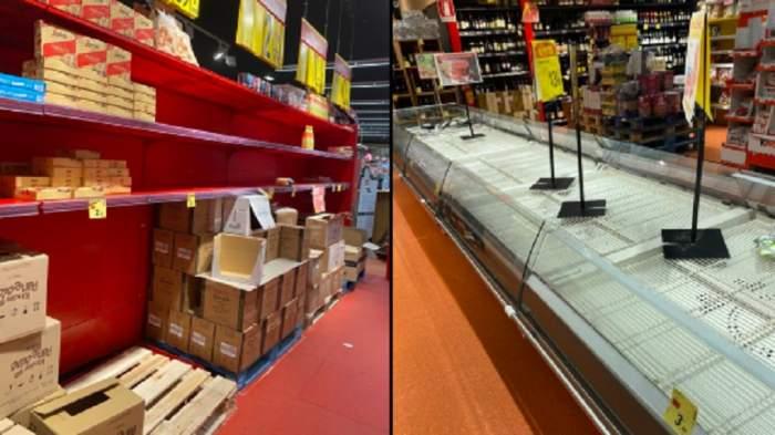 Imagini tulburătoare cu magazinele din Italia, lăsate fără mâncare în mijlocul isteriei coronavirus. Oamenii nu mai ies din case