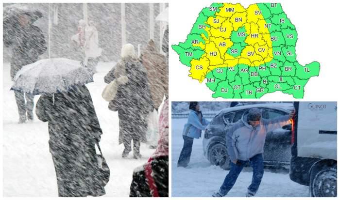 Se strică vremea în România. Jumătate de țară, sub cod galben de ninsori și viscol
