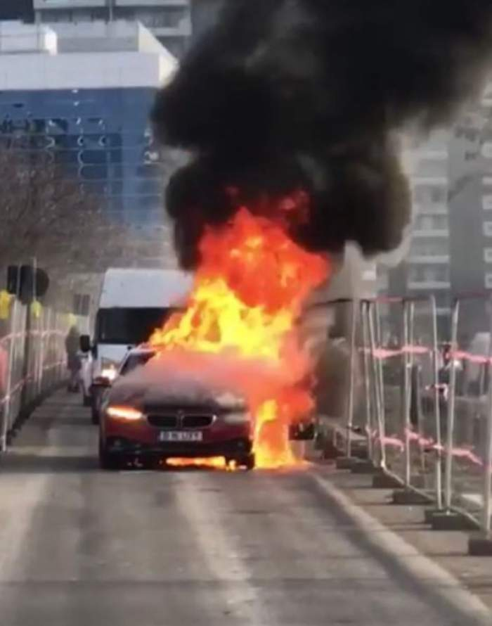 ULTIMA ORĂ! O maşină a luat foc în Capitală! Imagini dramatice cu autovehiculul ce arde ca o torţă / VIDEO