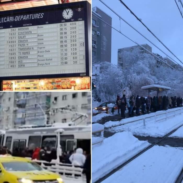 Transportul în comun, dat peste cap de vremea rea. Tramvaie blocate în Capitală şi întârzieri de până la 390 de minute ale trenurilor