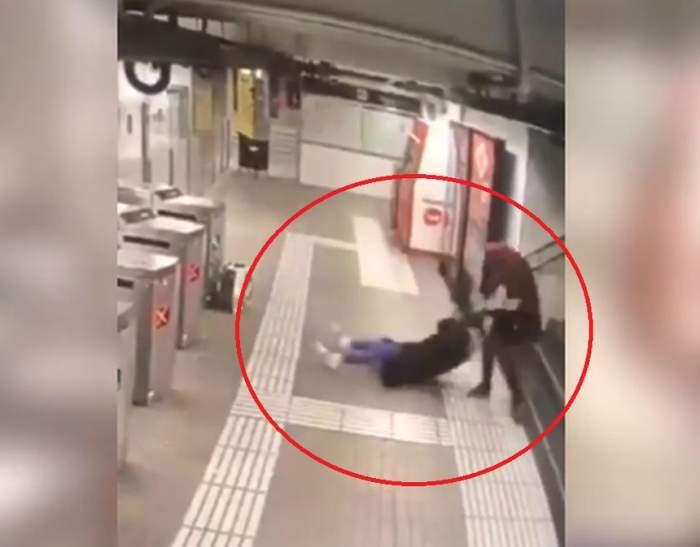 Incident şocant la metrou. Femeie bătută cu bestialitate de un tânăr, pentru a-i fura geanta