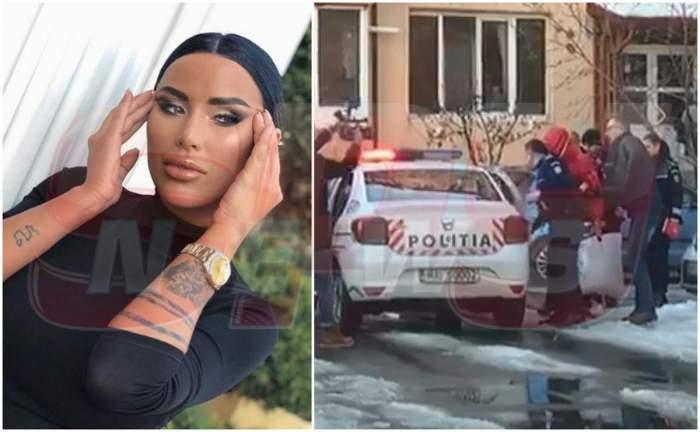 Iubitul Danielei Crudu, escortat de polițiști la locuința brunetei / VIDEO PAPARAZZI
