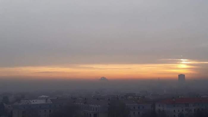 Poluare cu 1000% peste limita normală, în București. Orașul a fost acoperit de un nor gros
