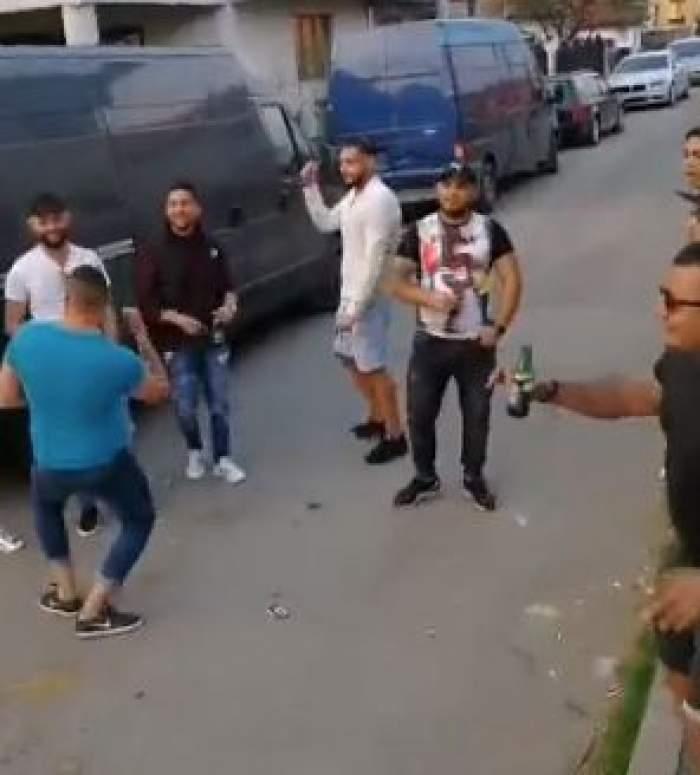 Romii din Târgu-Jiu sfidează starea de urgență. Petrecere în mijlocului zilei cu manele, dans și băutură / VIDEO