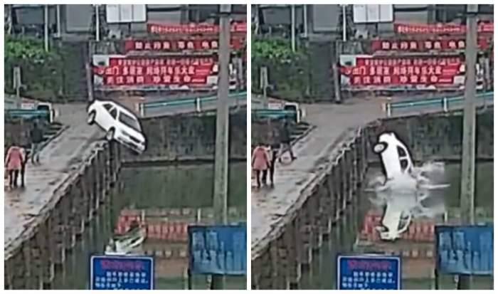 Un bărbat a plonjat cu mașina în râu, la 10 minute după ce și-a luat permisul. Citea mesaje de felicitări pe telefon