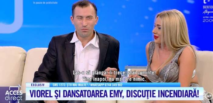 """VIDEO / Viorel şi dansatoarea Emy, ipostaze incendiare. Bărbatul s-a lăsat sărutat, chiar sub ochii Veronicăi : """"Iau numărul şi te sun"""""""