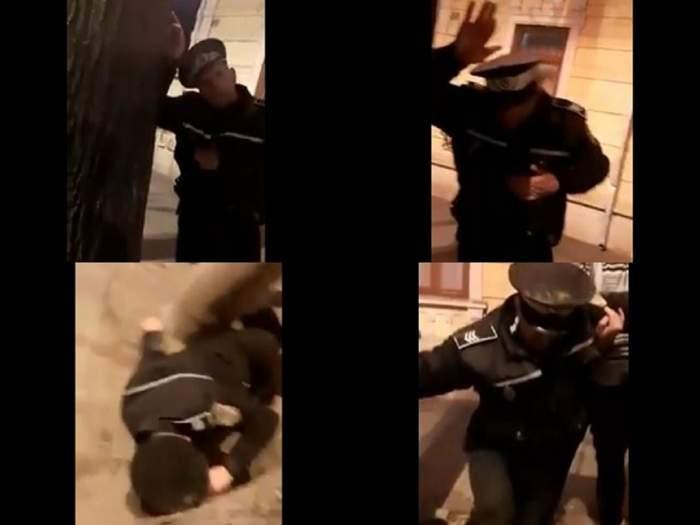 FOTO / Poliţist filmat în stare de ebrietate cade pe jos și nu este în stare să vorbească. Omul legii riscă să fie dat afară