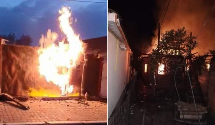Incendiu puternic la Năvodari! Două case și un garaj au fost distruse complet din cauza flăcărilor