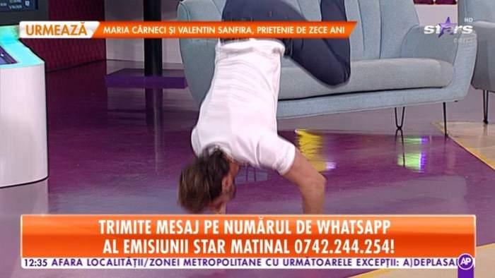 VIDEO / Dima Trofim, provocat de telespectatori în direct la Star Matinal! Prezentatorul a acceptat și a făcut flotări...în mâini!