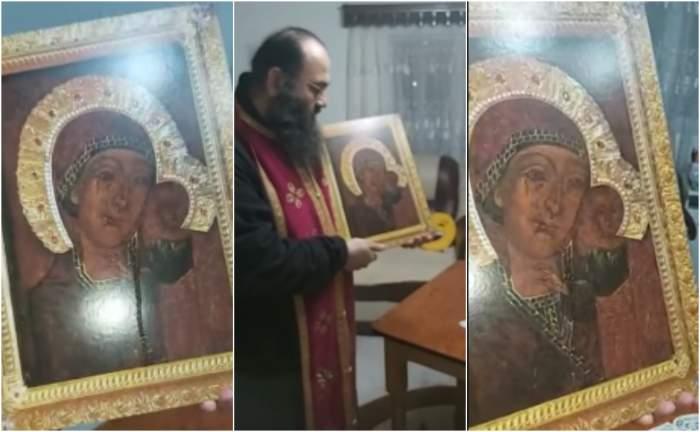 Semn divin în plină pandemie. Icoana Maicii Domnului, de la Mănăstirea Oituz, plânge în mâna părintelui / VIDEO