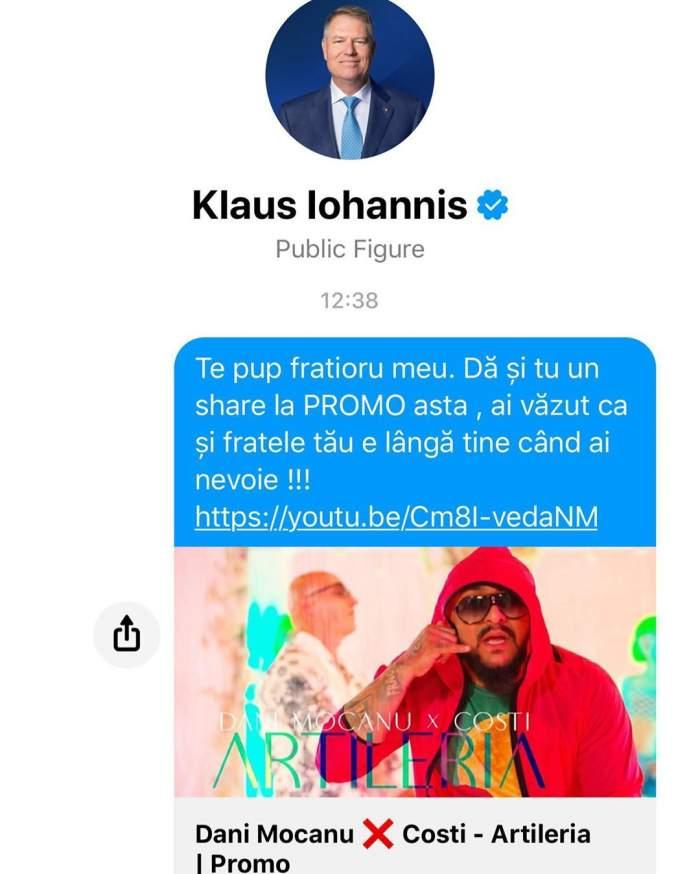 """FOTO / Legătura neștiută dintre Dani Mocanu și Klaus Iohannis! Ce mesaj i-a transmis manelistul președintelui României: """"Te pup, frățiorul meu"""""""