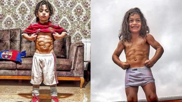 """El este noul """"micul Hercule""""! La numai 6 ani, are deja pătrățele ca ale marilor culturiști / FOTO"""