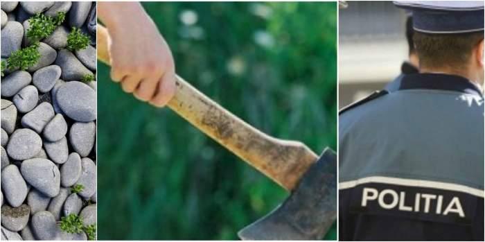 Polițiștii din Argeș, atacați cu pietre și topor de un scandalagiu. Oamenii legii au folosit pistolul din dotare