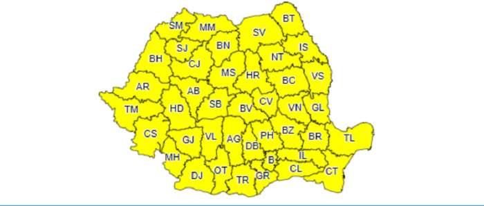 Codul galben de furtuni a fost extins până luni! Toată țara, lovită de vijelii cumplite
