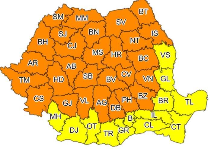 Furtunile fac prăpăd în România! ANM, cod portocaliu de vijelii pentru 26 de județe