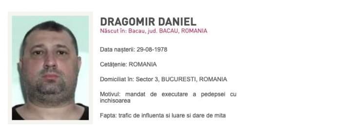 Fostul colonel SRI Daniel Dragomir, dat în urmărire! Este condamnat la 3 ani şi 10 luni de închisoare cu executare