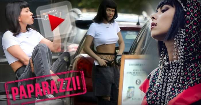 VIDEO PAPARAZZI / Poate fata! Inna, divă în orice ipostază! Cu ce se răsfață bruneta, direct pe trotuarele Capitalei