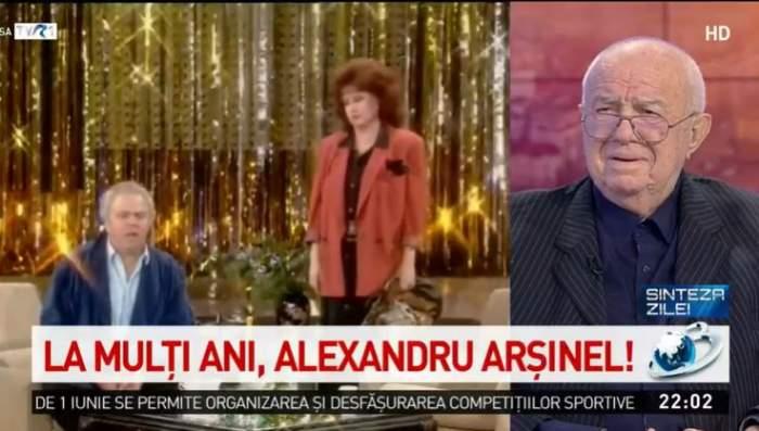 """VIDEO / Alexandru Arșinel, cu ochii în lacrimi de ziua lui! Marele actor a izbucnit în momentul în care a văzut imaginile cu Stela Popescu: """"Regret că nu mai este"""""""
