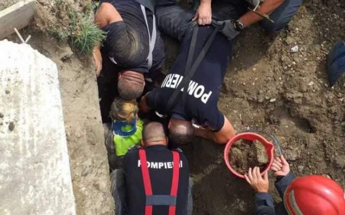Intervenție de urgență! Trei muncitori prinși sub un mal de pământ/ VIDEO
