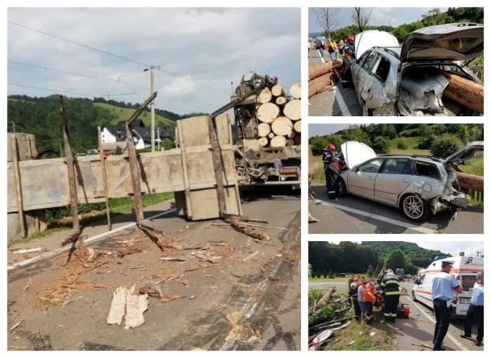 Doi adulți și un copil, răniți grav după ce un camion de bușteni s-a răsturnat peste ei, în Suceava!