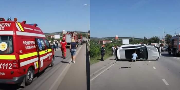 Un șofer a murit, iar un altul a fost grav rănit, în urma unui accident cumplit, la ieșirea din Hunedoara! Traficul în zonă este blocat total! / FOTO
