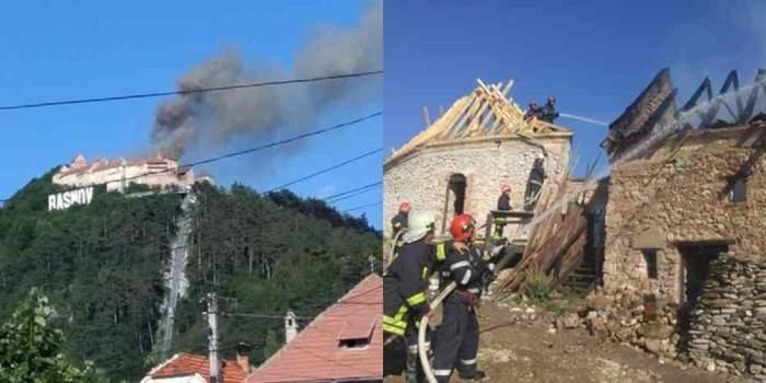 Incendiu devastator la Cetatea Râșnov! Turiștii veniți în vizită au fost imediat evacuați! / FOTO