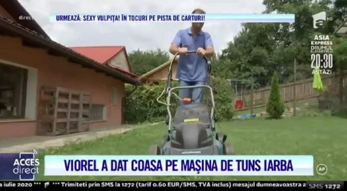 """Viorel a dat microfonul pe mașina de tuns iarba! Cum s-a descurcat soțul Vulpiței la muncă! """"Se ține de prostii"""" / VIDEO"""