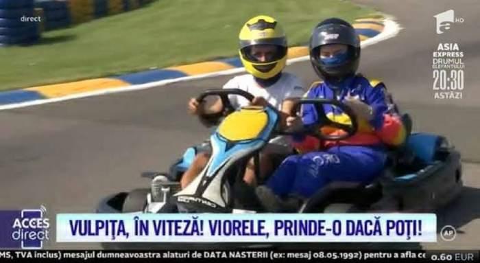 """Veronica, apariție sexy, pe tocuri, la karting! Viorel i-a fost mereu alături, la condus! """"Să ne obișuim cu volanul"""" / VIDEO"""