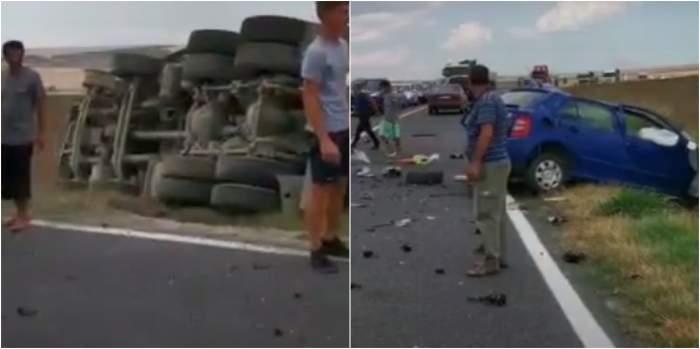 Accident mortal la Gura Dobrogei. Șoferul unui mastodont a lovit frontal o altă mașină, apoi s-a răsturnat la marginea drumului / VIDEO