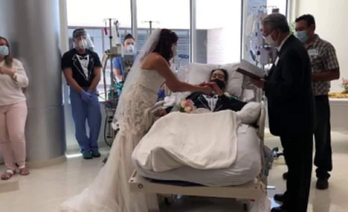 Un pacient cu Covid-19 s-a căsătorit în salonul spitalului! Nunta îndrăgostiților, organizată de cadrele medicale / FOTO
