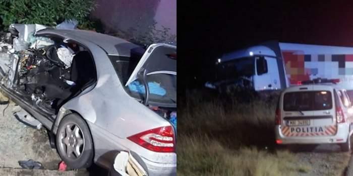 Accident tragic în Bistrița! Un bărbat a murit, după ce mașina lui a fost spulberată de un TIR! O femeie și trei copii au ajuns la spital! / FOTO