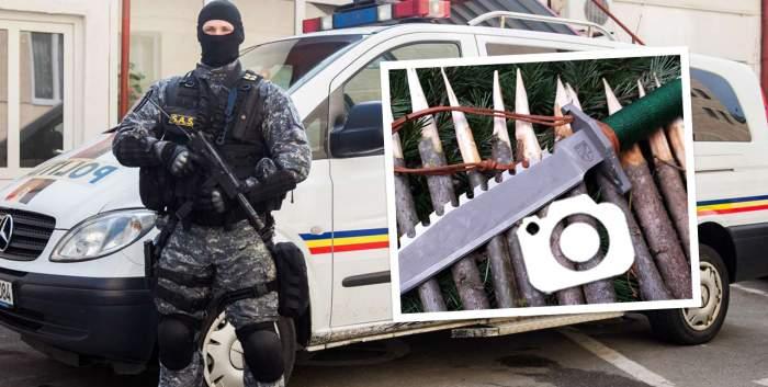 """""""Mascații"""" de la Poliție, atacați cu sulițe, de """"Rambo de România"""" / Le-a pus capcane, ca-n filme"""