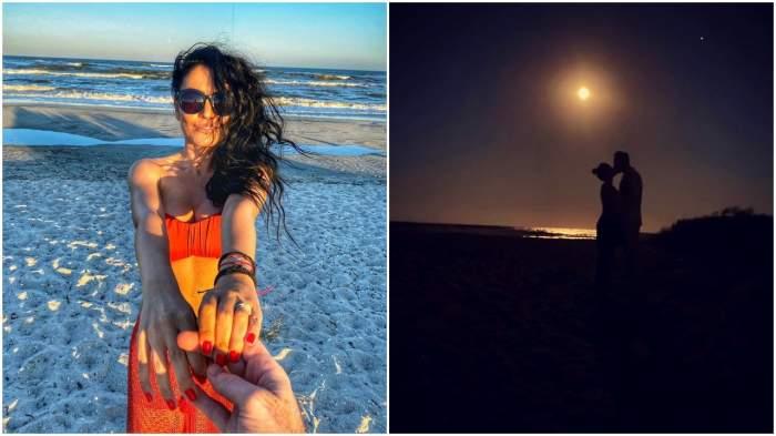 Andreea Mantea, într-un costum de baie colorat de mână cu iubitul (stânga) și Andreea Mantea sărutându-se cu iubitul, siluete la apus pe plajă