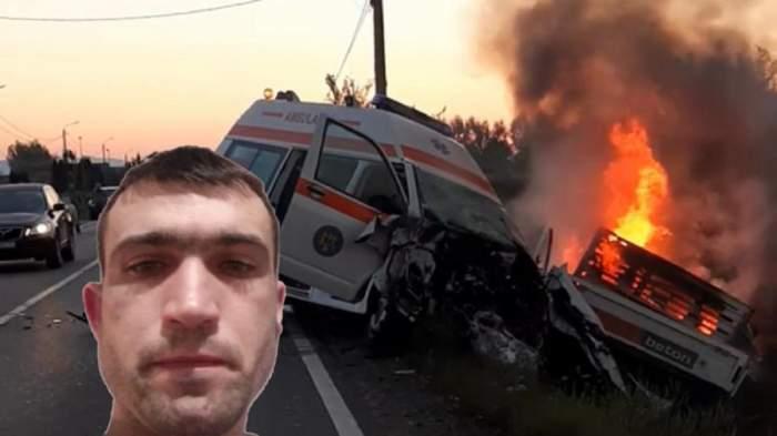Accidentul de la Satu Mare. O ambulanță este puternic avariată, iar o camionetă arde în flăcări.