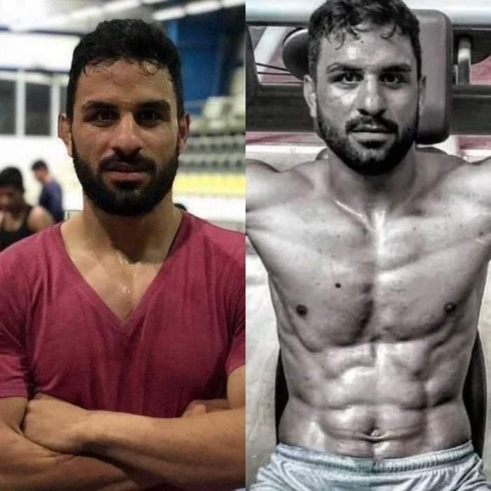 Navid Afkari colaj cu tricou roşu şi la bustul gol