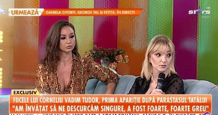 """Fiicele lui Vadim Tudor pe canapeaua de la """"Star Matinal"""". În stânga este Eugenia, iar în dreapta Lidia. Cea din urmă vorbește la microfon."""