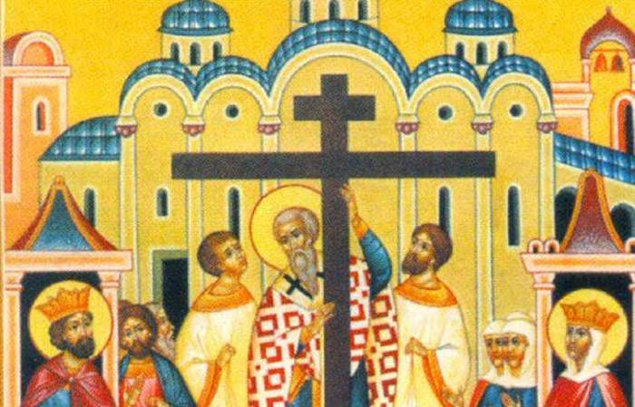 Mai mulți sfinți înalță Crucea, într-un tablou