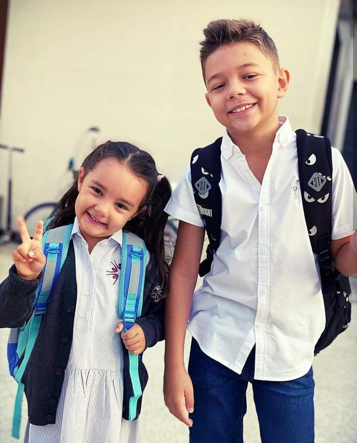 După vacanța prelungită, Eva și David s-au întors la școală și grădiniță! Ce mesaj le-a transmis Andra / FOTO