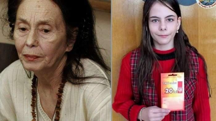 Adriana Iliescu, abătută și îmbrăcată într-un pulover crem, și Eliza Iliescu, la școală cu un carnețel