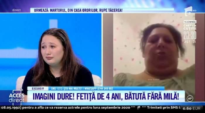 Fiica femeii care și-a bătut fiica de 4 ani.