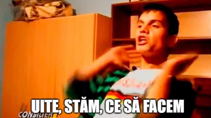 """Meme-ul """"Uite, stăm!"""", captură cu un tânăr pe nume Alexandru din emisiunea """"Consilier de urgență"""", de pe Național TV"""