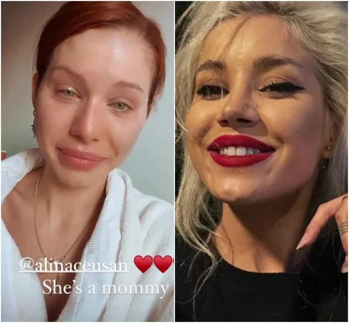 Alina Ceușan este zâmbitoare în partea dreaptă, Carmen plânge de emoție în partea stângă a fotografiei