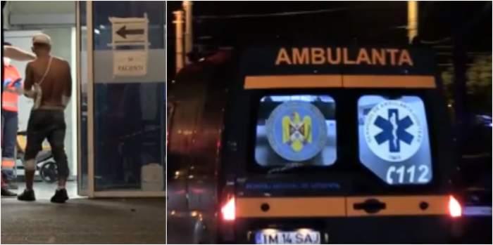 În imagine se vede tânărul înjunghiat care a ajuns la spital, dar și salvarea care a intervenit