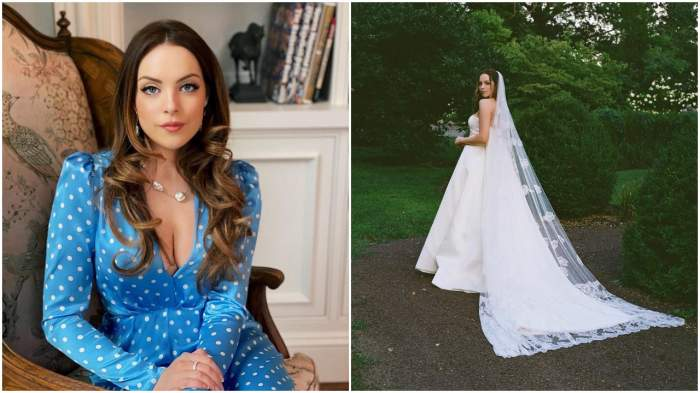 Elizabeth Gillies într-o rochie albastră și în rochie de mireasă, în ziua nunții