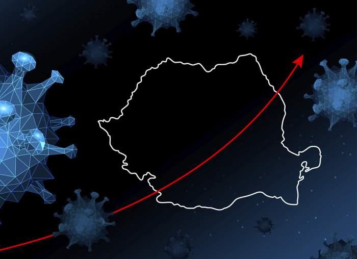 Hartă a României, simboluri de virus și o săgeată care indică o creștere