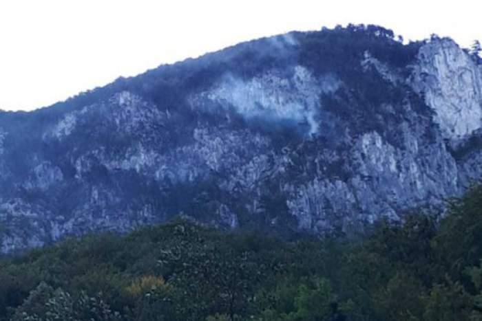 Incendiu puternic în Parcul Național Domogled din Mehedinți. Pompierii au intervenit cu elicopterul