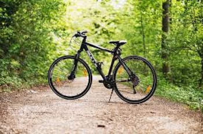 Fotografie cu o bicicletă neagră în pădure